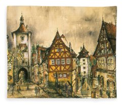 Rothenburg Bavaria Germany - Romantic Watercolor Fleece Blanket