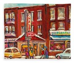 Rotisserie Le Chalet Bar B Q Sherbrooke West Montreal Winter City Scene Fleece Blanket