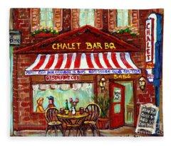 Rotisserie Le Chalet Bbq Restaurant Paintings Storefronts Street Scenes Diners Montreal Art Cspandau Fleece Blanket