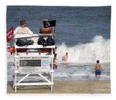 Rough Water At Bethany Beach In Delaware  Fleece Blanket