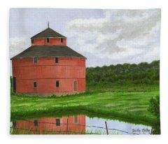 Round Barn Fleece Blanket