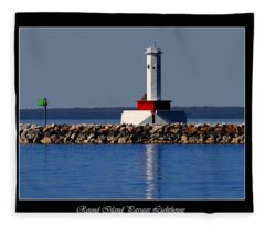 Round Island Passage Lighthouse Fleece Blanket