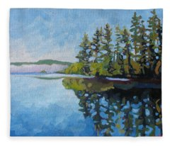 Round Lake Mirror Fleece Blanket