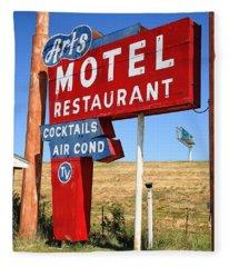 Route 66 - Art's Motel Fleece Blanket