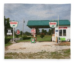 Route 66 Gas Station With Sponge Painting Effect Fleece Blanket