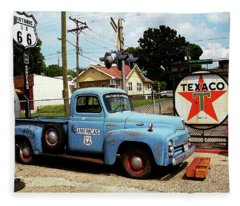 Route 66 - Gas Station With Watercolor Effect Fleece Blanket