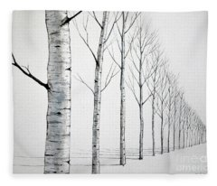 Row Of Birch Trees In The Snow Fleece Blanket