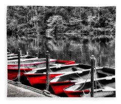 Row Of Red Rowing Boats Fleece Blanket