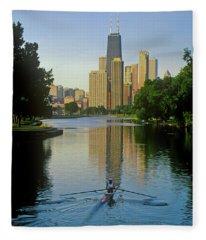 Rower On Chicago River With Skyline Fleece Blanket