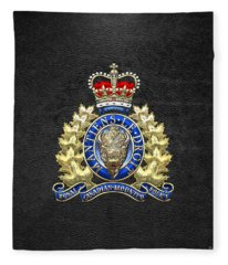 Royal Canadian Mounted Police - Rcmp Badge On Black Leather Fleece Blanket