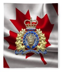 Royal Canadian Mounted Police - Rcmp Badge Over Waving Flag Fleece Blanket