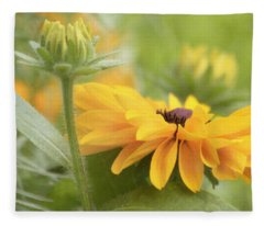 Rudbeckia Flower Fleece Blanket