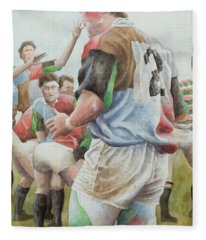 Rugby Match Harlequins V Northampton, Brian Moore At The Line Out, 1992 Wc Fleece Blanket