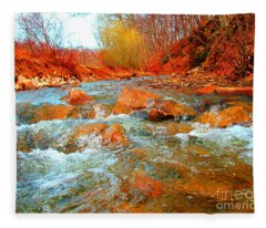 Running Creek 2 By Christopher Shellhammer Fleece Blanket
