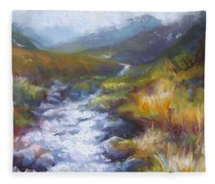 Running Down - Landscape View From Hatcher Pass Fleece Blanket