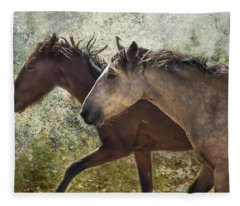 Running Free - Pryor Mustangs Fleece Blanket