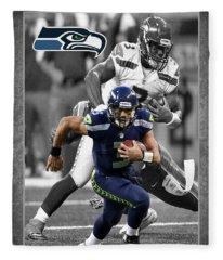 Russell Wilson Seahawks Fleece Blanket