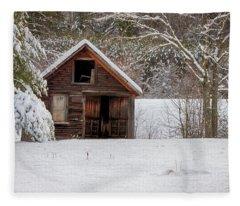 Rustic Shack In Snow Fleece Blanket