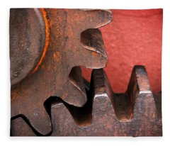 Rusty And Metallic Gear Wheel Fleece Blanket