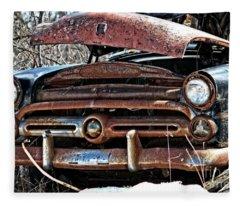 Rusty Old Car Fleece Blanket
