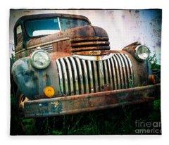 Rusty Old Chevy Pickup Fleece Blanket