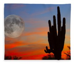 Saguaro Full Moon Sunset Fleece Blanket