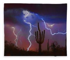 Saguaro Lightning Nature Fine Art Photograph Fleece Blanket