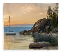 Sail Boat Over The Lake Tahoe Fleece Blanket