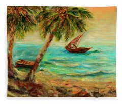 Sail Boats On Indian Ocean  Fleece Blanket