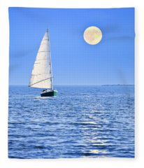 Sailboat At Full Moon Fleece Blanket