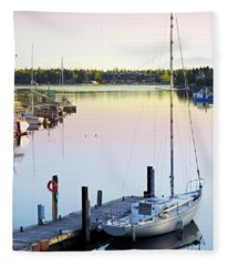 Sailboat At Sunrise Fleece Blanket