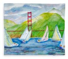 Sailboat Race At The Golden Gate Fleece Blanket