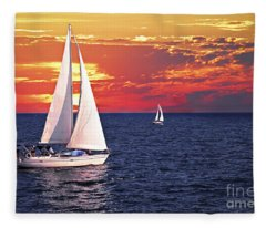 Sailboats At Sunset Fleece Blanket