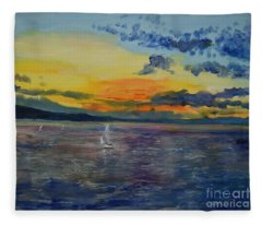 Sailboats Near Stockholm Fleece Blanket
