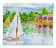 Sailing By The Bridge Fleece Blanket