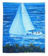 Sailing Off The Coast Fleece Blanket