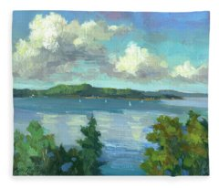 Sailing On Puget Sound Fleece Blanket