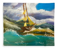 Sailing Ship In A Storm Fleece Blanket
