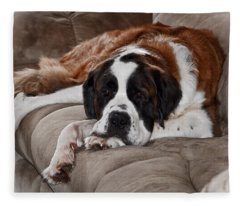 Saint Bernard Fleece Blanket
