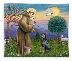 Saint Francis And Doberman Pinscher Fleece Blanket