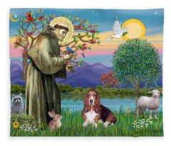 Saint Francis Blesses A Basset Hound Fleece Blanket