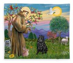 Saint Francis Blesses A Black Chinese Shar Pei Fleece Blanket