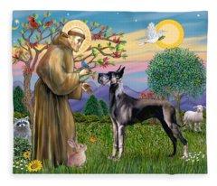 Saint Francis Blesses A Black Great Dane Fleece Blanket