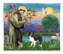 Saint Francis Blesses A Border Collie Fleece Blanket