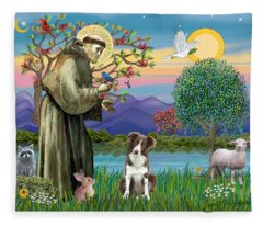 Saint Francis Blesses A Brown And White Border Collie Fleece Blanket