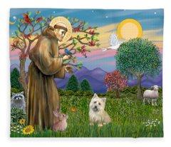 Saint Francis Blesses A Cairn Terrier Fleece Blanket