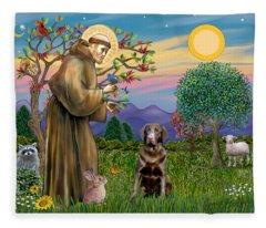 Saint Francis Blesses A Chocolate Labrador Retriever Fleece Blanket