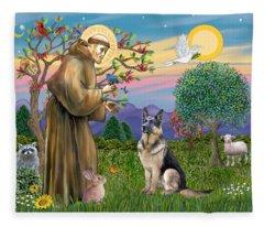 Saint Francis Blesses A German Shepherd Fleece Blanket