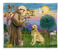 Saint Francis Blesses A Golden Retriever Fleece Blanket
