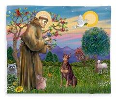 Saint Francis Blesses A Red Doberman Fleece Blanket